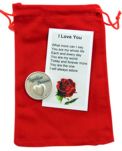 Westmon Works Valentines Day Token Gift Set with I Love You Poem Card and Gift Bag