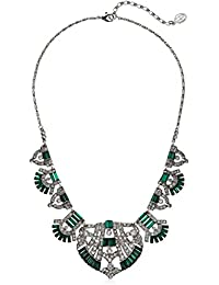 Swarovski Crystal Deco Emerald Fan Pendant Necklace For Bridal Wedding Anniversary