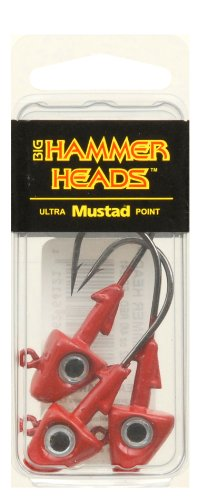 Big Hammer Jig Head with 4/0 Hook, Red, - Head Lead