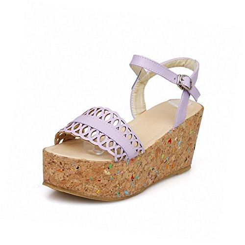Allhqfashion Womens Hoge Hakken Zacht Materiaal Open Teen Solid Gesp Sandalen Paars