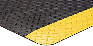 "product image for 3' x 5' x 15/16""Diamond Plate Yellow Border Surface Anti Fatigue Matting Industrial Mats"
