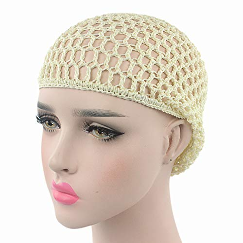 Mesh Cap for Hair Woman Night Sleeping Hand Crocheted Drooping Hair Care Long Mesh Sleeping Cap ()