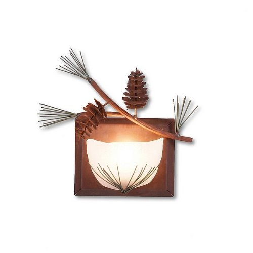 Avalanche Ranch Lighting A14120-04 Halogen Single Sconce (Pine Cone), Indoor Wall Sconce, Pine Green stain/Rust Patina base Finish