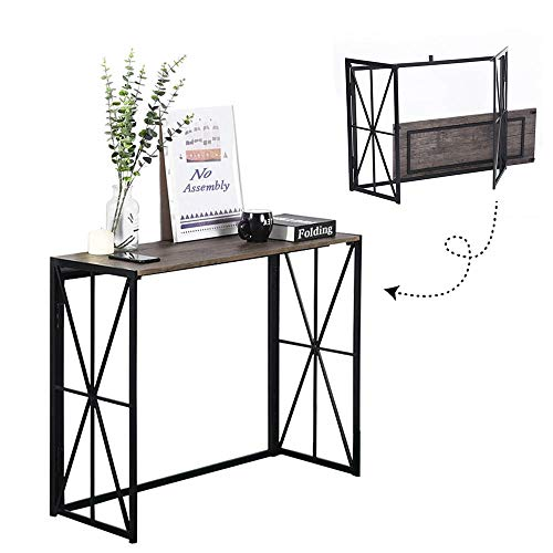 Folding-Console Table, No-Assembly Wood Entryway Hall Table,8 Seconds Finish Installation Industrial Sofa Side Table Sturdy Metal X-Design HORES/BS (Walnut+ Black) (Metal Table Foyer)