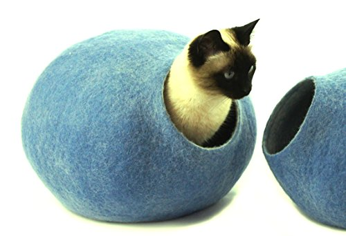 Kivikis Cat Bed, House, Cave, Nap Cocoon, Igloo, 100% Handmade from Sheep Wool (XL 17-26 pounds cat, Sky Blue)