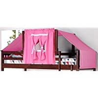 DONCO Kids 755-CP-Pink Wooden Tent Structure Bed with Tent Fabric, Twin, Dark Cappuccino/Cappuccino/Pink