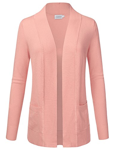 JJ Perfection Women's Open Front Knit Long Sleeve Pockets Sweater Cardigan DUSTYPINK 2XL (Lightweight Pullover Slim)
