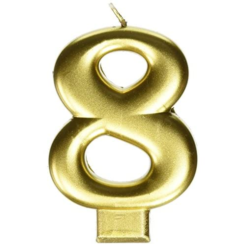 "Amscan 8 Birthday Glitter 3.25"" Numeral Candle Children's Party Favor Sets, Metallic Gold for cheap"