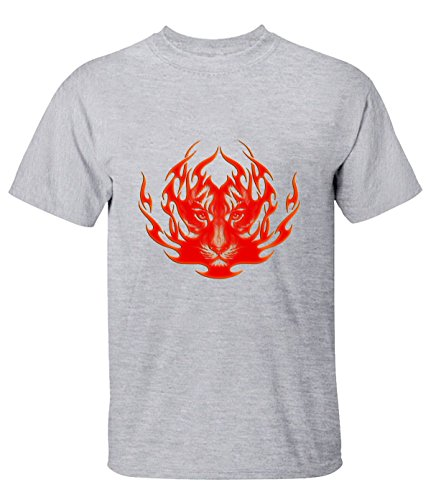 Ta Dey Cool Burning Flame Tiger Tees for Mens XXL gray