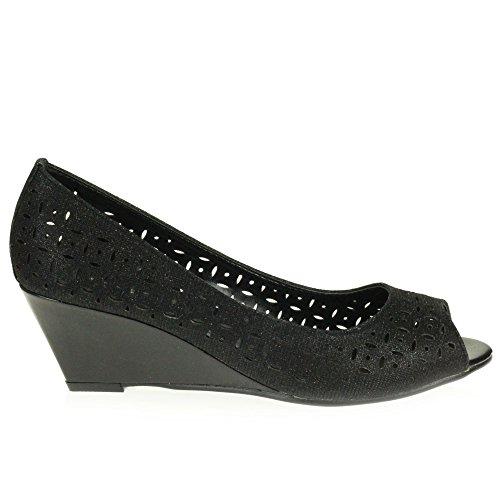 AARZ LONDON Frau Damen Beiläufig Komfort Peeptoe Clever Büroarbeit Schlüpfen Sandalen mit Keilabsatz Schuhe Größe Schwarz Funkeln