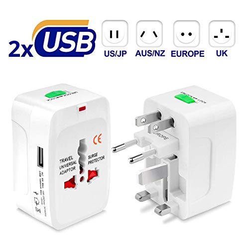 Universal Travel Plug Adapter, All in One Worldwide Universal Wall Charger AC Power Plug with 2 USB Charging Ports for EU, US, UK and AU - White