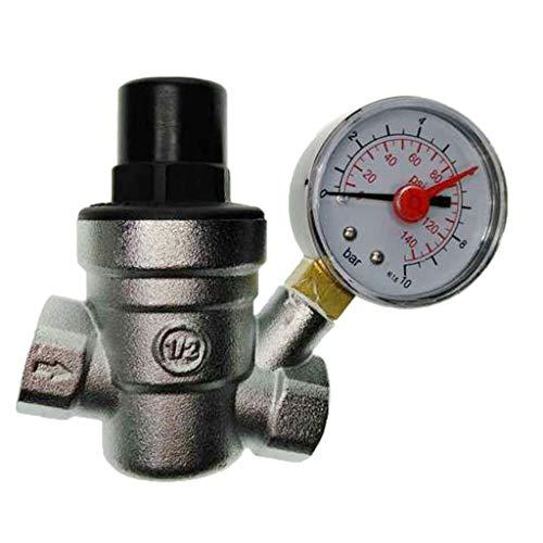 - Fityle Water Regulator Valve-, Lead Free Brass Adjustable RV Pressure Reducing Valve with Pressure Gauge and Water Filter - DN15