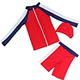 Yunqir Kids Wetsuit 3 Pcs/Set Children's Short Spilt Swimsuits Kids Sunscreen Wetsuit for Water Sports(Red)