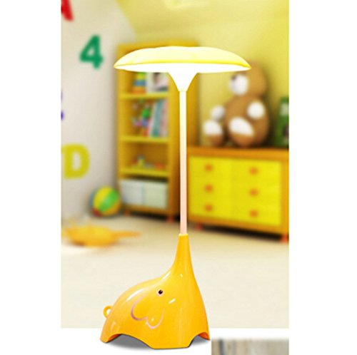 Wanchuang Cute Elephant Children's Night Lights Flexible Angles Desk Lamp - Touch-sensitive 3 Levels of Brightness USB Rechargeable Table Lamp - Rechargeable for Kids, Baby, Children (Yellow)