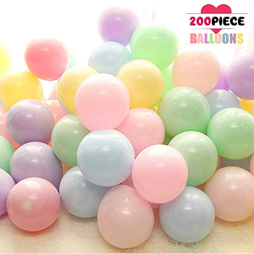 5 Inch Mini Pastel Latex Balloons 200pcs Assorted Pastel Rainbow Candy Colored Party Balloons & 2 Rolls Glue Point for Girls Wedding Birthday Baby Shower Party Decorations -