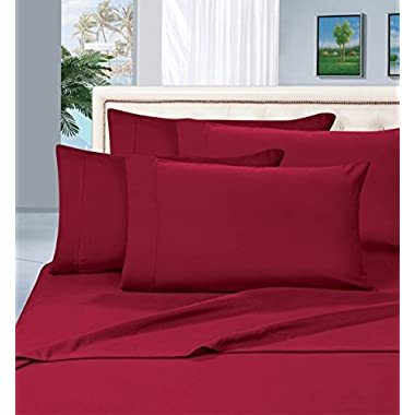 Elegant Comfort 1500 Thread Count Wrinkle & Fade Resistant Egyptian Quality Hypoallergenic Ultra Soft Luxurious 4-Piece Bed Sheet Set, King, Burgundy