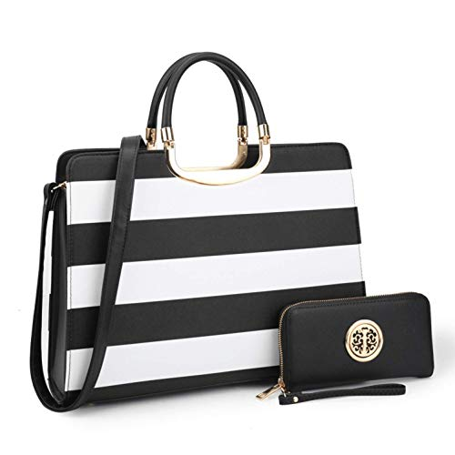 MMK Collection Fashion Pad-lock Satchel handbags with wallet?8808)~Designer Purse for Women ~Multi Pocket ~ Perfect Women Purse and wallet~ Beautiful Designer Handbag Set (MA-XL-02-2828-W-BK/WT) ()
