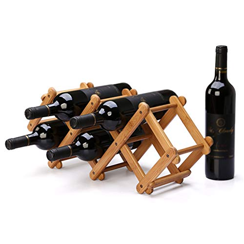 SYF Wine Rack Bamboo Folding Tabletop Wine Rack Wine Bottle Holder Storage Storage Rack | Countertop Kitchen Wine 5 Bottles 53.5x15x21.5cm A+