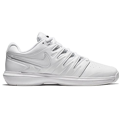 Nike Men's Air Zoom Prestige Tennis Shoes (10.5 D US, Leather - White/White/Black)