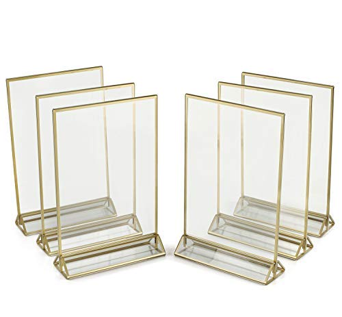 Super Star Quality Clear Acrylic Double Sided Frames Display Holder with Vertical Stand and 3mm Gold Border, 5 x 7-Inches (Pack of 6)