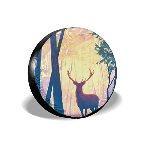 (EtenorLife Deer Stand in Forest with Twilight 15 Inch Tire Cover Potable Polyester Universal Spare Wheel Tire Cover Wheel Covers for Trailer RV SUV Truck Camper Travel Trailer Accessories)