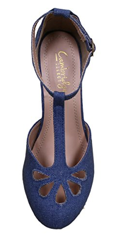 Cambridge Select Donna Teardrop Cut-out T-strap Mary Jane Dress Pump Denim