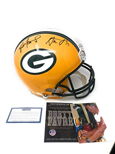 Brett Favre Helmet (Aaron Rodgers Brett Favre Green Bay Packers Dual Signed Autograph Full Size Proline Authentic Helmet Favre & Steiner Sports Certified)