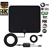 [ REAL DEAL ] Newest Updated 2018 Digital HD TV Antenna with Latest Amplifier Technology- Support for 720p,1080p and up to 4K. Paintable to Match Any Color Wall- USB Powered amplifier-18ft Cord