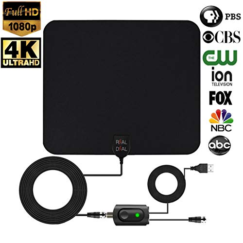[ REAL DEAL ] Newest Updated 2019 HD Digital TV Antenna with Latest Amplifier Technology- Support for 720p,1080p and up to 4K. Paintable to Match Any Color Wall- USB Powered amplifier-18ft Cord