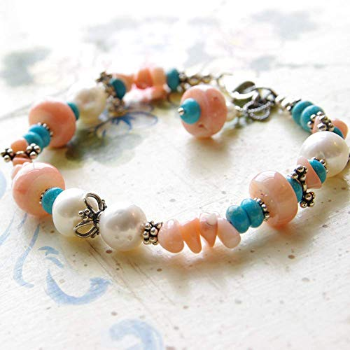 Peach Coral Bracelet White Freshwater Cultured Pearl Turquoise Stone Sterling Silver Bali