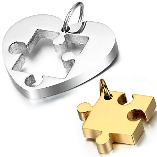 2 PCS Stainless Steel Couple's Love Heart Puzzle Pendant Necklace for Valentines Day,Chain Included, with Gift Bag (Parts Package)