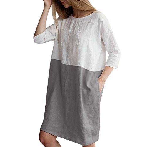JOFOW Women's Loose Casual Block Patchwork 3/4 Sleeve Cotton Linen Pocket Dress from JOFOW