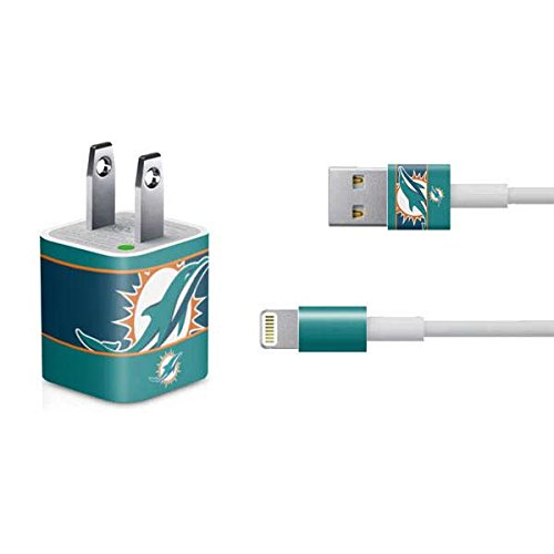 Skinit NFL Miami Dolphins iPhone Charger (5W USB) Skin - Miami Dolphins Zone Block Design - Ultra Thin, Lightweight Vinyl Decal Protection ()