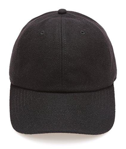(MIRMARU Men's Wool Blend Baseball Cap with Adjustable Size Strap(Black))