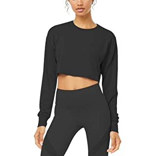 Bestisun Cute Workout Crop Top for Sport Women Long Sleeve Yoga Sports Clothes Loose Fit T-Shirts Running Fitness Gym Top Muscle Shirts Black M