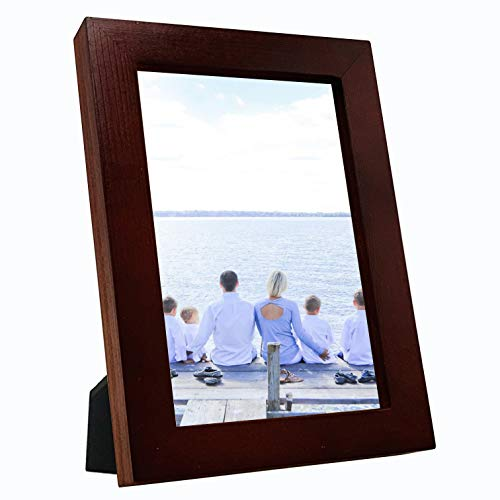 (OIYEA 5x7 Picture Frames Wood Materials,HD PVC Transparent Board with Family, Personal, Baby and Landscape Photos Redwood)
