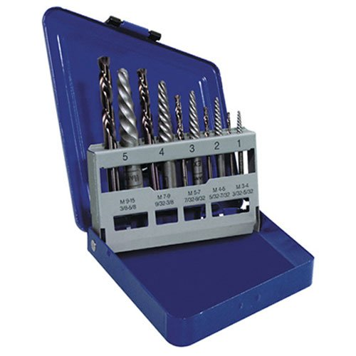 IRWIN Tools Hanson Spiral Extractor and Drill Bit Set, 10 Piece, -