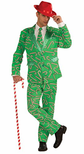 Forum Novelties Men's Plus Size Candy Cane Costume Suit, Green/Red, X-Large -