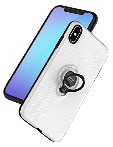 DESOF ICONFLANG for iPhone Xs/X Case, Ultra-Slim iPhone Xs Case with Ring Holder Stand Compatible Magnetic Car Mount Cover Case for Apple iPhone Xs (2018) iPhone X (2017) 5.8 inch - White