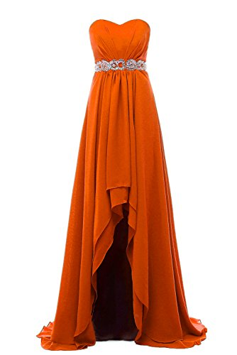 Dannifore Off-Shoulder High Low Country Bridesmaid Dress Chiffon Party Wedding Gowns Long Orange Size (Satin Rouge Evening Gown)