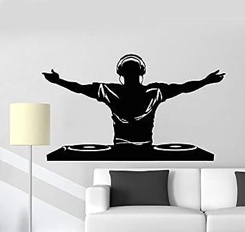 Vinilo de pared calcomanía música de Dj auriculares bar ...