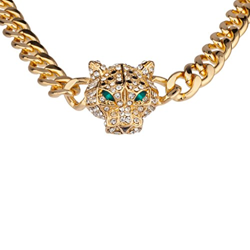Lux Accessories Gold Pave Panther Chain Link Bling Necklace Matching Stud Earrings
