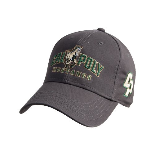 Cal Poly Charcoal Heavyweight Twill Pro Style Hat  Calpoly Mustangs Primary  Mark  f3cdc4764c5ea