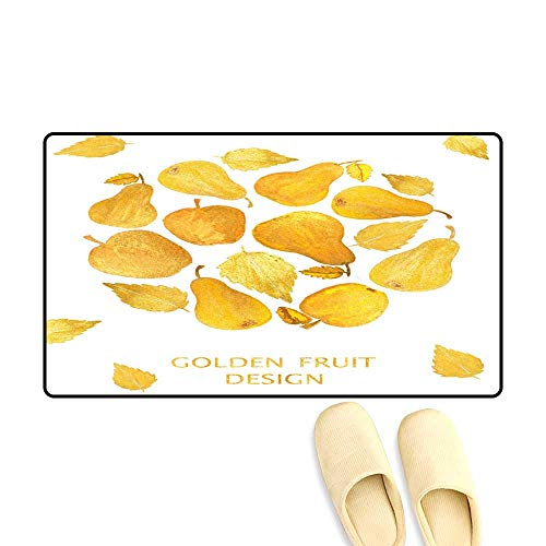 - Door Mats for Inside Circle wi Beautiful Golden Apples an Pears on White Background