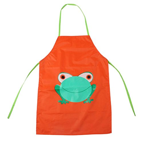 Children's Frog Costume Pattern (Apron Bibs, Witspace 1PC Kids Waterproof Aprons Children Frog Print Apron Paint Eat Drink Outerwear Toddlers Apron Bibs (Orange))