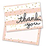 Pink Horizontal Stripes Thank You Cards - Includes Envelopes (Pack of 10) - by Ruby Ashley