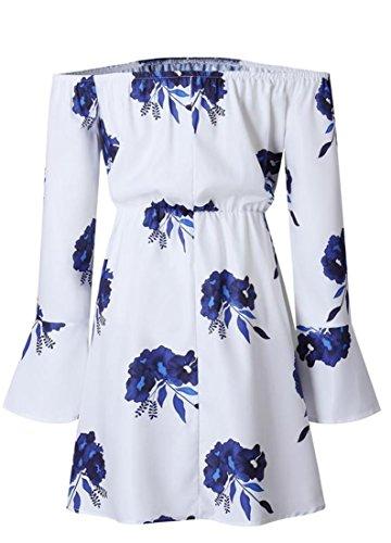 L'impression Manches Flare Cordon De Serrage À L'épaule Au Large Des Femmes Cromoncent Plissé Bleu Mini-robe