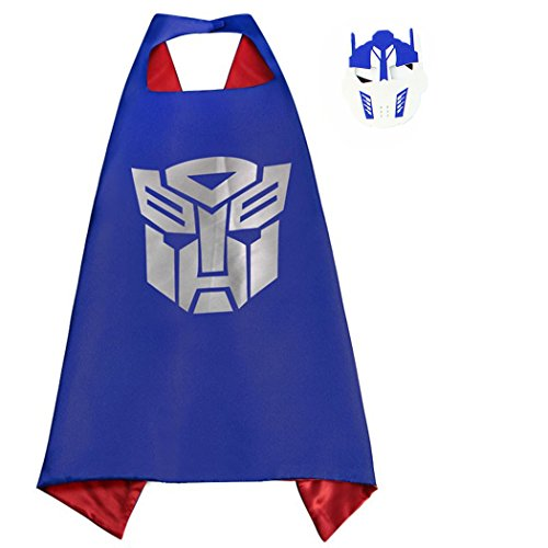 Optimus Prime Costumes Whoopgifts Superhero Satin Cape with Felt Mask for Kids Birthdays Party Favors, Cosplay Dress Up
