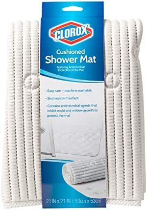 Clorox Cushioned Shower Mat, White, 50cm x 50cm