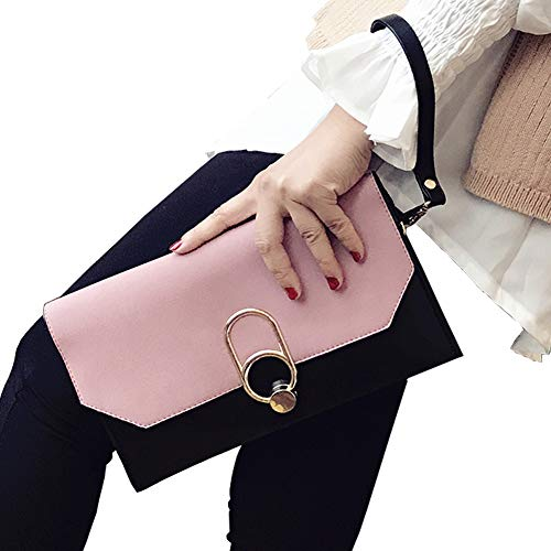 with Pink Chain b16 Rhinestone Formal Clutch Shoulder Envelope Handbag Womens Evening ALAIX Wristlet Purse 7awUP8faq